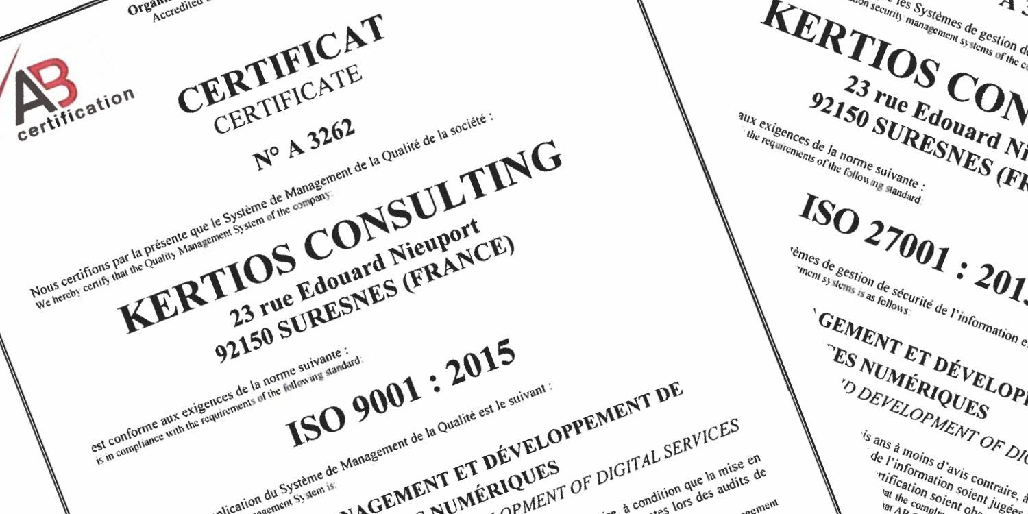 Kertios Cerification ISO 9001 - 27001
